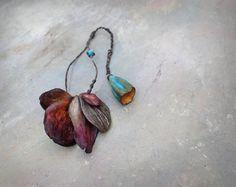 fallen leaves porcelain beads by greybirdstudio on Etsy
