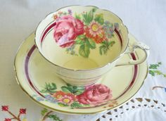 Paragon tea cup and saucer/ double warrant/ rose by VieuxCharmes