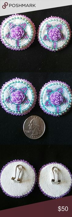 Flower beaded earrings Beautiful hand made by me. It sparkles. Leather backing. Native American Made Jewelry Earrings