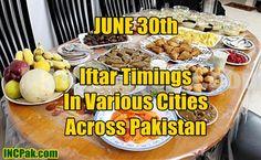 Iftar timing June 30 in various cities across Pakistan