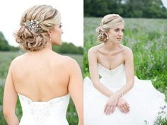 Wedding Hairstyles Ideas, Low Updo Vintage Wedding Hairstyles With Floral Hair Broach: Applying Vintage Wedding Hairstyles on Your Wedding Day