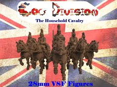 Queen Victoria's Special Cog Division of the Household Cavalry in 28mm miniatures on Mitchell Mechanical Steam Horses.