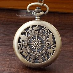 Fashion Alice In Wonderland Bronze Quartz Pocket Watch Compass pattern Necklace Rabbit Flower Key Women Men Gift Pocket Watch