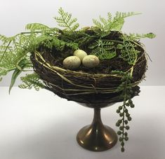 This nest adds color and character to any room in your home! USES: -Easter decor -spring decor -farmhouse decor -shelf decor -centerpiece SIZE: 7 not including fern of nest Thank you for stopping by our shop! Metal Cake Stand, Pedestal Cake Stand, Cupcake Stand Wedding, Wedding Cake Stands, Pig Kitchen Decor, Square Cake Stand, Rustic Plates, Centerpiece Decorations, Fern