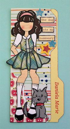 Olive doll card ♥ By Daniela Alvarado. Atc Cards, Card Tags, Paper Cards, Altenew Cards, Prima Paper Dolls, Prima Doll Stamps, Funny Dog Signs, Scrapbook Paper Crafts, Scrapbook Albums