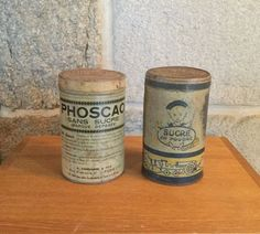Two original French 1930's storage tins / cannisters