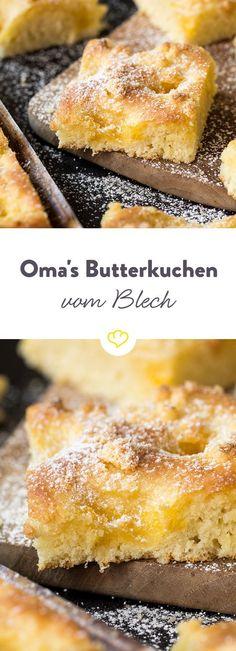 Oma Hannas Butterkuchen ist der Beste! Besonders saftig, besonders lecker und mit gesalzener Butter gebacken. Das Originalrezept.