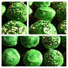 Chocolate espresso cupcakes with Bailey's Irish Cream cream cheese/buttercream frosting
