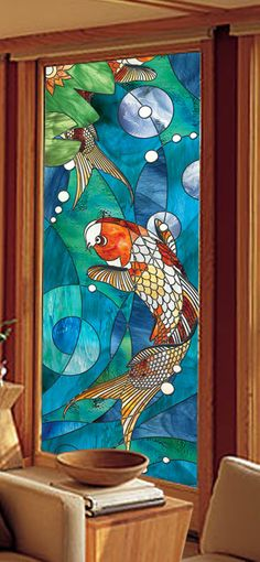 For The Upstairs Hall Bath Mermaid Faux Stained Glass