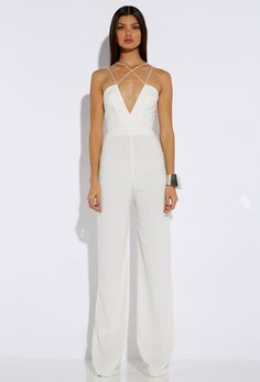 0325e8298804 AQ AQ Sane Cream Deep V Jumpsuit Wedding Jumpsuit