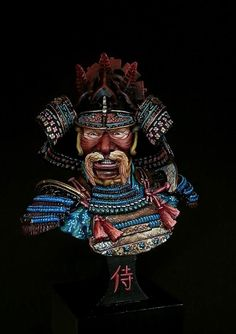 bust white metal from Elite miniatures // paint in acrylics Minis, Art Japonais, Full Face Mask, Samurai Art, Student Fashion, Hobbies And Crafts, Fantasy Art, Miniatures, Military