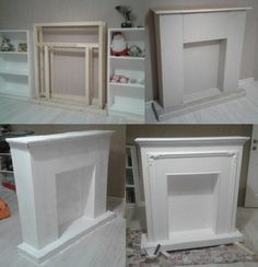 Photo Faux Fireplace Mantels, Candles In Fireplace, Christmas Fireplace, Firepla. - in fireplace christmas Decor, Candles In Fireplace, Simple Fireplace, Diy Furniture, Faux Fireplace Mantels, Furniture Plans, Christmas Fireplace, Fireplace, Cardboard Fireplace