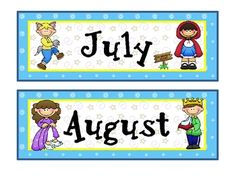 Calendar month toppers with a Fairy Tale theme.See also, coordinating calendar numbers, nametags, and newsletter template. Preschool Center Signs, Preschool Centers, Preschool Classroom, Classroom Themes, Kindergarten, Classroom Newsletter Template, Newsletter Templates, Fairy Tale Theme, Fairy Tales