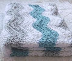 Aqua Blue and Gray Baby Boy Chevron Blanket - Crochet Blue Baby Blanket - Teal Gray Nursery - Aqua Gray Nursery Bedding / Chevron Bedding