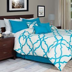 Lavish Home Oversized Trellis Comforter Set Blue - 66-13-KBLU, Durable