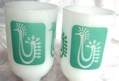 Vintage Rooster Irish Coffee Mugs - Turquoise Aqua Teal Retro Design on White Milk Glass, 1970s. At AngelGrace on etsy.