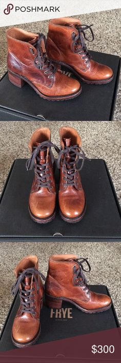 Frye Sabrina 6G Lace Up Boots in 5.5 Size 5.5 in the color Cognac. Love these shoes and only worn once! Selling since I have another in a different color.   What sets the Sabrina apart from other work boots is hand burnishing and leather. Tumbled Montana leather in this case. Of course, the flawless shape, rugged lug sole and stacked heel don't hurt either. But the hand burnishing is the special sauce. The result is a patina that glows and gets even better with age. Made in USA and sourced…