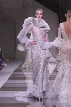 Ziad Nakad Look Fall Winter Haute Couture Collection - Gorgeous Embroidered Colombia Blue Asymmetric Backless Mermaid Evening Dress / Evening Gown with On - Haute Couture Dresses, Couture Mode, Couture Fashion, Runway Fashion, Mermaid Evening Dresses, Evening Gowns, Spring Couture, Fashion Videos, Couture Collection