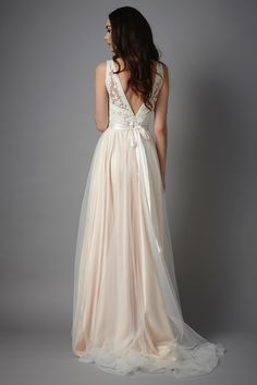Tamsin wedding gown – blush, Catherine Deane #weddingdress #blush #lace #bow #tulle