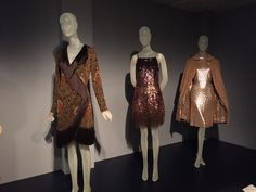 From left to right: Yves Saint Laurent dress, fall 1968; Yves Saint Laurent evening set; Normal Norell evening set