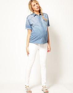 Enlarge ASOS Maternity Denim Shirt With Roll Sleeve