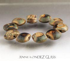 Lampwork glass bead set Raku beads Flat lentils by AnneLondezGlass, $59.90