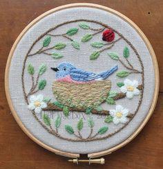 Nesting Bluebird | Crewel Embroidery by flossbox, via Flickr