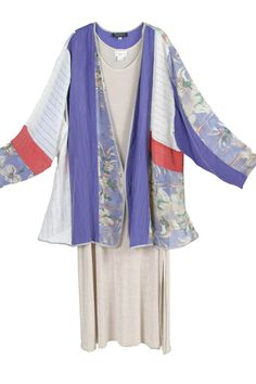 Peggy Lutz Plus Size Mother of Bride Daisy Jacket Periwinkle, Coral, Ivory, White Wearable Art 1310 Sizes 22/24, 26/28  Unique plus size clothing lets you be YOU!  Such a fun, lighthearted jacket will raise spirits all around you.