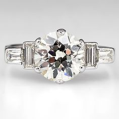 Art Deco Engagement Ring w/ 1.7 Carat Diamond Platinum 1930's - EraGem