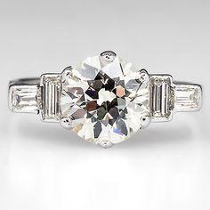 Art Deco Engagement Ring w/ 1.7 Carat Diamond Platinum 1930's - EraGem