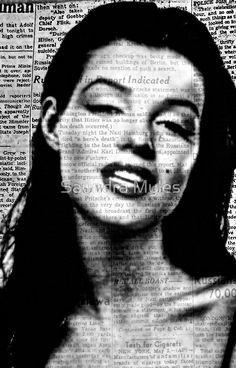 Marilyn on Vintage Newspaper so Beautiful:Saundramylesart