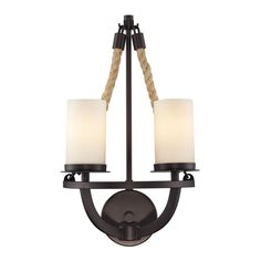 Natural Rope 2 Light Wall Sconce In Aged Bronze And White Glass 63040-2