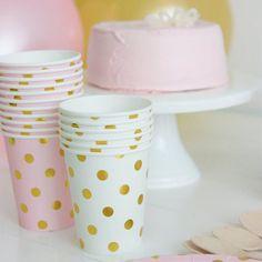 12 vasos de papel rosa topos dorados Mugs, Tableware, Showroom, Party, Candy Stations, Roses, Paper Envelopes, Saying Goodbye, Room
