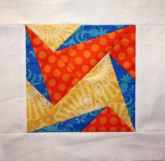 https://flic.kr/p/aH9nh2 | BMQG Bee - My block | Block in my colors - orange, yellow, teal  Made using this tutorial: quiltjane.blogspot.com/2011/10/desperate-housewifes-quilt...