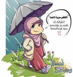 Benificial rain Muslim Girls, Muslim Couples, Cartoon Pics, Cute Cartoon, Muslim Culture, Sad Texts, Islamic Cartoon, Anime Muslim, Pretty Images