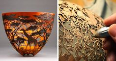Kenya-born and New Zealand-based artist Gordon Pembridge has developed a lifelong bond with nature. This connection with Mother Earth is often the main source of inspiration for his impressive wooden vessels that incorporate elements of natural history and portray colorful local wildlife.