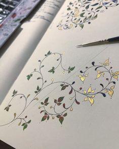 Islamic Art Calligraphy, Calligraphy Letters, Islamic Art Pattern, Pattern Art, Illuminated Letters, Illuminated Manuscript, Illumination Art, Turkish Art, Flower Art