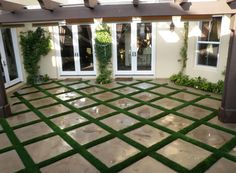 Idea: Artificial Grass and stone pavers - would this work in my KS backyard? Artificial Grass Installation, Artificial Turf, Turf Installation, Backyard Patio Designs, Backyard Landscaping, Outside Living, Outdoor Living, Swimming Pools Backyard, Cool Landscapes