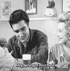♡♥A lady moves Elvis' hair the wrong way and Elvis moves it right back - click on GIF to see♥♡