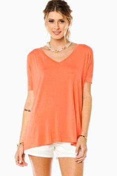 ShopSosie Style : Cozy Short Sleeve V Neck Tee in Dark Peach by Piko