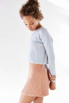 soft knit boxy sweater + quilted fitting a-line skirt | UrbanOutfitters