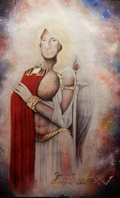Archangel Michael by Marianna Venczak Watercolor, pen and cold gold enamel with crystals Made: 2018