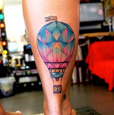 Watercolor Hot Air Balloon Tattoo by Dusty Brasseur Bad Tattoos, I Tattoo, Sleeve Tattoos, Air Ballon, Hot Air Balloon, Air Balloon Tattoo, Tatuagem New School, Balloon Words, Tattoo Designs