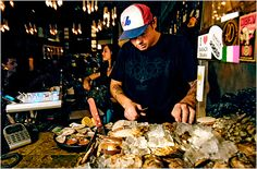 The invention of rebel Quebecois celeb chef Chuck Hughes. Have your seafood fresh or in your poutine. Montreal Quebec, Montreal Canada, Retail Concepts, Poutine, Restaurant, Wedding Event Planner, Travel News, Day Off, Ny Times