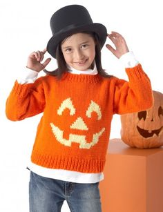 "Halloween Jack o Lantern Sweater free knitting pattern ""Very Scary"" Pullovers - Patterns   Yarnspirations"