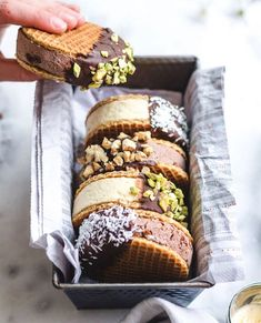 Are you screaming for these or what? TheRainbowEatery's Ice Cream Waffle Sandwiches are the ultimate way to cool down this summer! And you'd never know that they're selber machen ice cream cream cream cake cream design cream desserts cream recipes Ice Cream Desserts, Cute Desserts, Frozen Desserts, Ice Cream Recipes, Dessert Recipes, Waffle Sandwich, Ice Cream Cookie Sandwich, Icecream Sandwich, Sandwich Cake