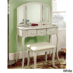 Furniture of America Classic Nasheline 3 Drawer Vanity / 3 Sided Mirror Set | Overstock.com