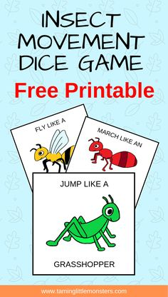 Insect Movement Dice – Taming Little Monsters Free Printable – Animals Time Free Preschool, Preschool Printables, Preschool Learning, In Kindergarten, Preschool Activities, Music Activities, Free Printables, Physical Activities, Preschool Bug Theme