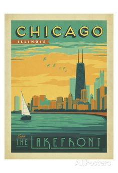 Chicago, Illinois: Enjoy The Lakefront Art by Anderson Design Group at AllPosters.com