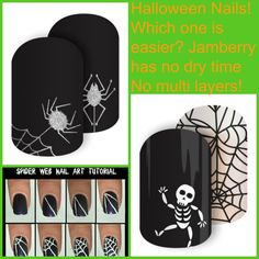 Get that glitter effect, or cute web and bones without all the drying and figuring when you can just use Jamberry!